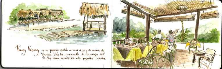 desayunando con vistas a las montañas de Vnag Vieng
