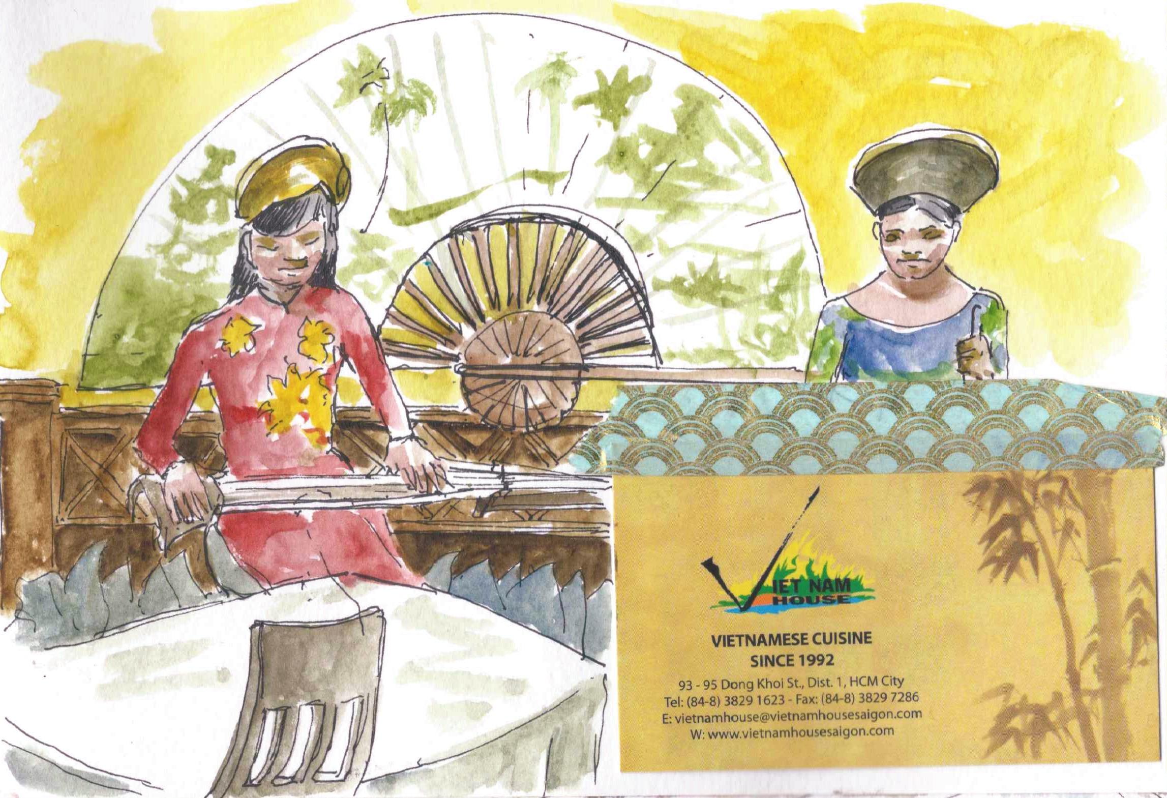 dibujo de cantantes vietnamitas